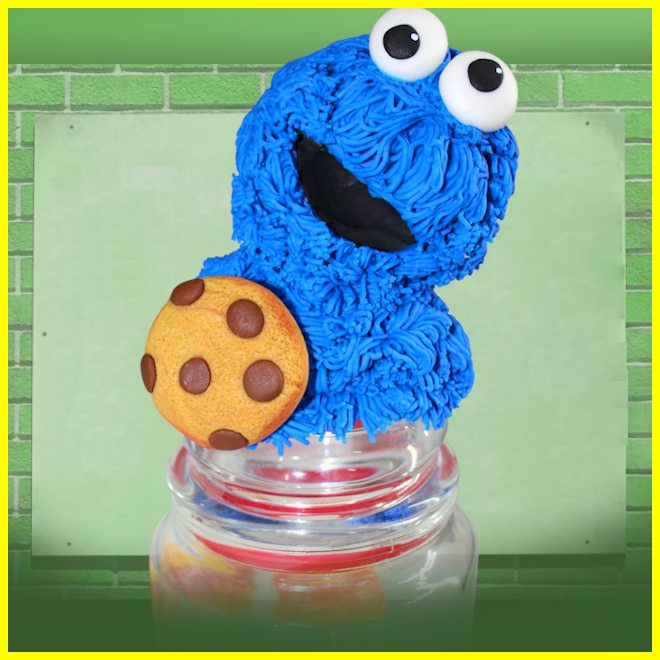Pote de vidro decorado com biscuit - Cookie Monster na tampa! - Detalhe