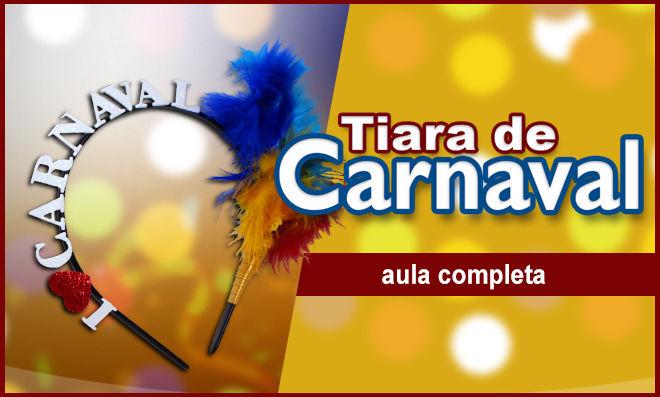 Tiara de carnaval usando EVA com glitter e fita de cetim