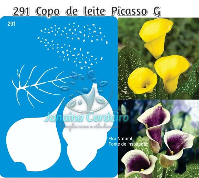 Copo-de-leite em EVA para ornamentação de ambientes - Modelo Picasso - Molde em Stencil