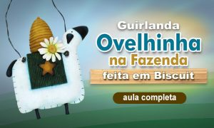 Guirlanda em biscuit - Ovelha fazendeira