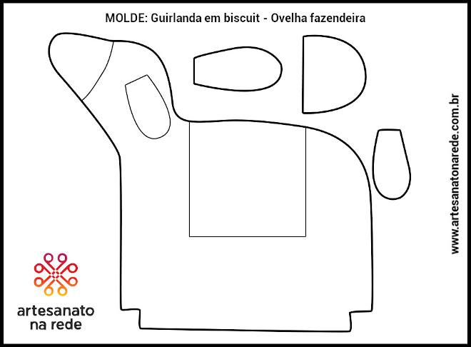 Guirlanda em biscuit - Ovelha fazendeira - Ilustração do molde