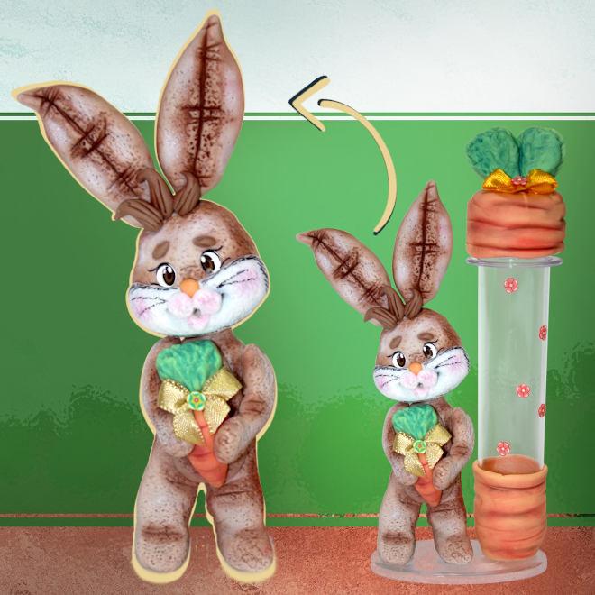 Tubete decorado com coelho em biscuit - Lembrancinha de páscoa - Detalhe